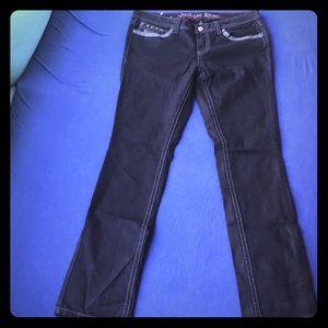Antique Rivet Jeans 31 Black Vegan Leather Studded